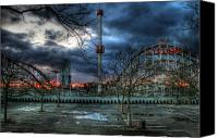 Park Digital Art Canvas Prints - Coney Island Canvas Print by Bryan Hochman