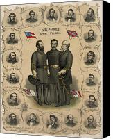 America Tapestries Textiles Canvas Prints - Confederate Generals of The Civil War Canvas Print by War Is Hell Store