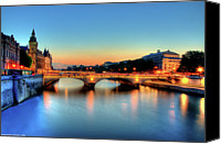People Photo Canvas Prints - Connecting Bridge Canvas Print by Romain Villa Photographe