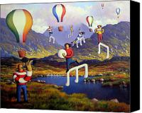 Kenny Canvas Prints - Connemara landscape with balloons and figures Canvas Print by Alan Kenny