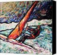 Wind Surfing Art Painting Canvas Prints - Conscience Surfer Canvas Print by Dennis Velco