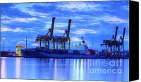 Industrial Ship Canvas Prints - Container Cargo freight ship with working crane bridge in shipya Canvas Print by Anek Suwannaphoom