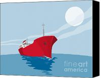 Circle Digital Art Canvas Prints - Container Ship Cargo Boat Retro Canvas Print by Aloysius Patrimonio