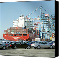 Liverpool England Canvas Prints - Container Ship Canvas Print by Tek Image