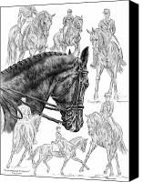 Horse Drawings Canvas Prints - Contemplating Collection - Dressage Horse Drawing Canvas Print by Kelli Swan