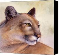 Mountain Lion Canvas Prints - Contemplation Canvas Print by Bonnie Rinier