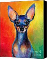 Cute Drawings Canvas Prints - Contemporary colorful Chihuahua chiuaua painting Canvas Print by Svetlana Novikova