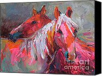 Austin Pet Artist Canvas Prints - Contemporary Horses painting Canvas Print by Svetlana Novikova