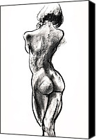 Charcoal Drawings Canvas Prints - Contra Posta Female Nude Canvas Print by Roz McQuillan