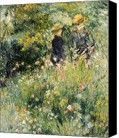 Impressionism Canvas Prints - Conversation in a Rose Garden Canvas Print by Pierre Auguste Renoir