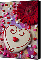Valentines Day Canvas Prints - Cookie And Candy Hearts Canvas Print by Garry Gay