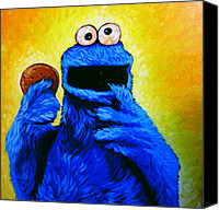 Monster Drawings Canvas Prints - Cookie Monster Canvas Print by Steve Hunter