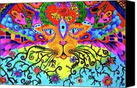 Trippy Painting Canvas Prints - Cool Kitty Cat Canvas Print by Marina Hackett
