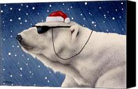 Polar Bear Canvas Prints - Cool Yule... Canvas Print by Will Bullas