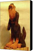 Woodcarving Sculpture Canvas Prints - Coonhound Canvas Print by Russell Ellingsworth