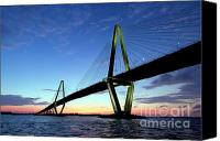 Ravenel Bridge Canvas Prints - Cooper River Bridge Charleston SC Canvas Print by Dustin K Ryan