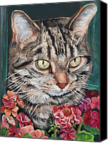 Oil Cat  Canvas Prints - Cooper the Cat Canvas Print by Enzie Shahmiri