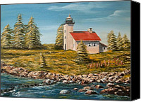 Copper Harbor Canvas Prints - Copper Harbor Lighthouse Canvas Print by Joan Stohlman
