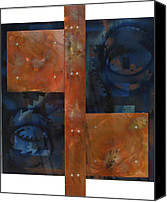 Copper Sculpture Canvas Prints - Copper On Wood 2 Canvas Print by James Johnson