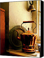 Copper Bells Canvas Prints - Copper Tea Kettle on Windowsill Canvas Print by Susan Savad