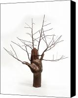 Copper Sculpture Canvas Prints - Copper Tree Hand a sculpture by Adam Long Canvas Print by Adam Long