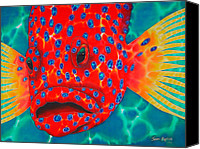 Silk Postcard Tapestries - Textiles Canvas Prints - Coral Grouper Canvas Print by Daniel Jean-Baptiste