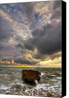 Verticle Canvas Prints - Coral Rock Skies Canvas Print by Debra and Dave Vanderlaan