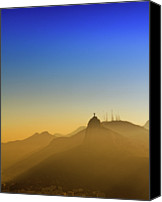Mountain Scene Canvas Prints - Corcovado Mountain And Christ Redeemer At Sunset Canvas Print by Antonello