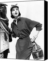 1950s Fashion Canvas Prints - Corduroy Shirtdress With Dolman Canvas Print by Everett