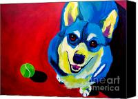 Rainbow Tapestries Textiles Canvas Prints - Corgi - Play Ball Canvas Print by Alicia VanNoy Call
