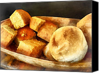 Wooden Bowls Canvas Prints - Cornbread and Rolls Canvas Print by Susan Savad