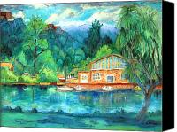 Boathouse Canvas Prints - Cornell Boathouse Canvas Print by Ethel Vrana