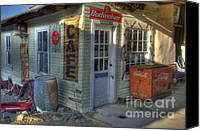 Corner Cafe Canvas Prints - Corner Cafe Randsburg California Canvas Print by Bob Christopher