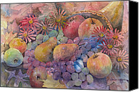 Fruits Canvas Prints - Cornucopia Of Fruit Canvas Print by Arline Wagner