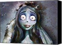 Girl Digital Art Canvas Prints - Corpse Bride Canvas Print by Jason Longstreet