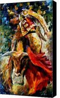 Cow Canvas Prints - Corrida Canvas Print by Leonid Afremov