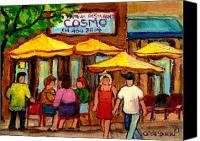 Transform Painting Canvas Prints - Cosmos  Fameux Restaurant On Sherbrooke Canvas Print by Carole Spandau