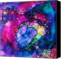 Angel Blues  Painting Canvas Prints - Cosmos Canvas Print by Joyce Auteri