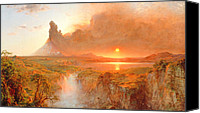 Setting Painting Canvas Prints - Cotopaxi Canvas Print by Frederic Edwin Church