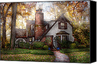 Autumn Scenes Canvas Prints - Cottage - Westfield NJ - Grandma Ridinghoods house Canvas Print by Mike Savad