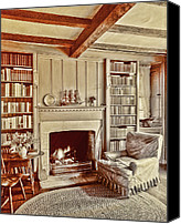 Antique Books Canvas Prints - Cottage Comfort Canvas Print by Marcie Adams Eastmans Studio Photography