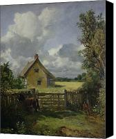 Floral Canvas Prints - Cottage in a Cornfield Canvas Print by John Constable