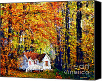 Yellow Trees Canvas Prints - Cottage in the Fall    Paint 2 Canvas Print by Cheryl Young