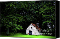 Camping Canvas Prints - Cottage in the woods Canvas Print by Fabrizio Troiani