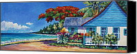 Cuba Painting Canvas Prints - Cottage on 7-Mile Beach Canvas Print by John Clark