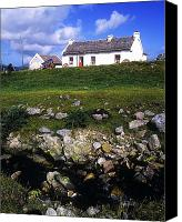Farm Houses Canvas Prints - Cottage On Achill Island, County Mayo Canvas Print by The Irish Image Collection 