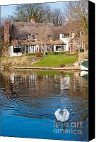 White River Scene Canvas Prints - Cottage On The River Canvas Print by Andrew  Michael