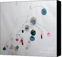 Kinetic Sculpture Sculpture Canvas Prints - Cotton Candy Complexity Mobile Sculpture Canvas Print by Carolyn Weir