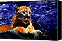 Mountain Lion Digital Art Canvas Prints - Cougar - 4492 - F Canvas Print by James Ahn