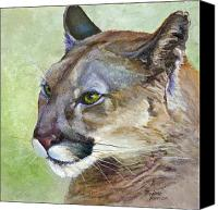 Panther Painting Canvas Prints - Cougar Canvas Print by Bonnie Rinier